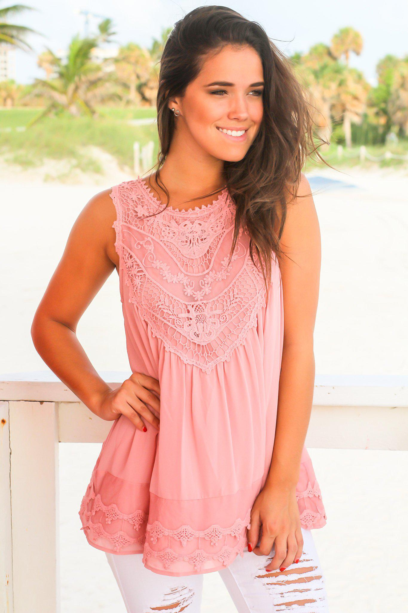 Rose Chiffon Crochet Top