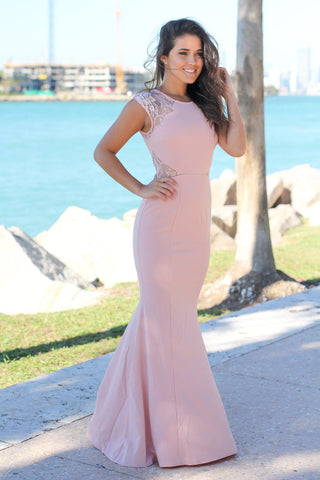 Rose Maxi Dress with Lace Cut Outs