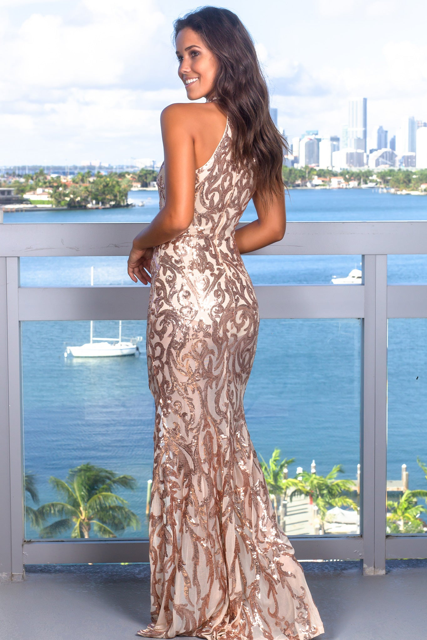 Rose Gold Halter Neck Maxi Dress