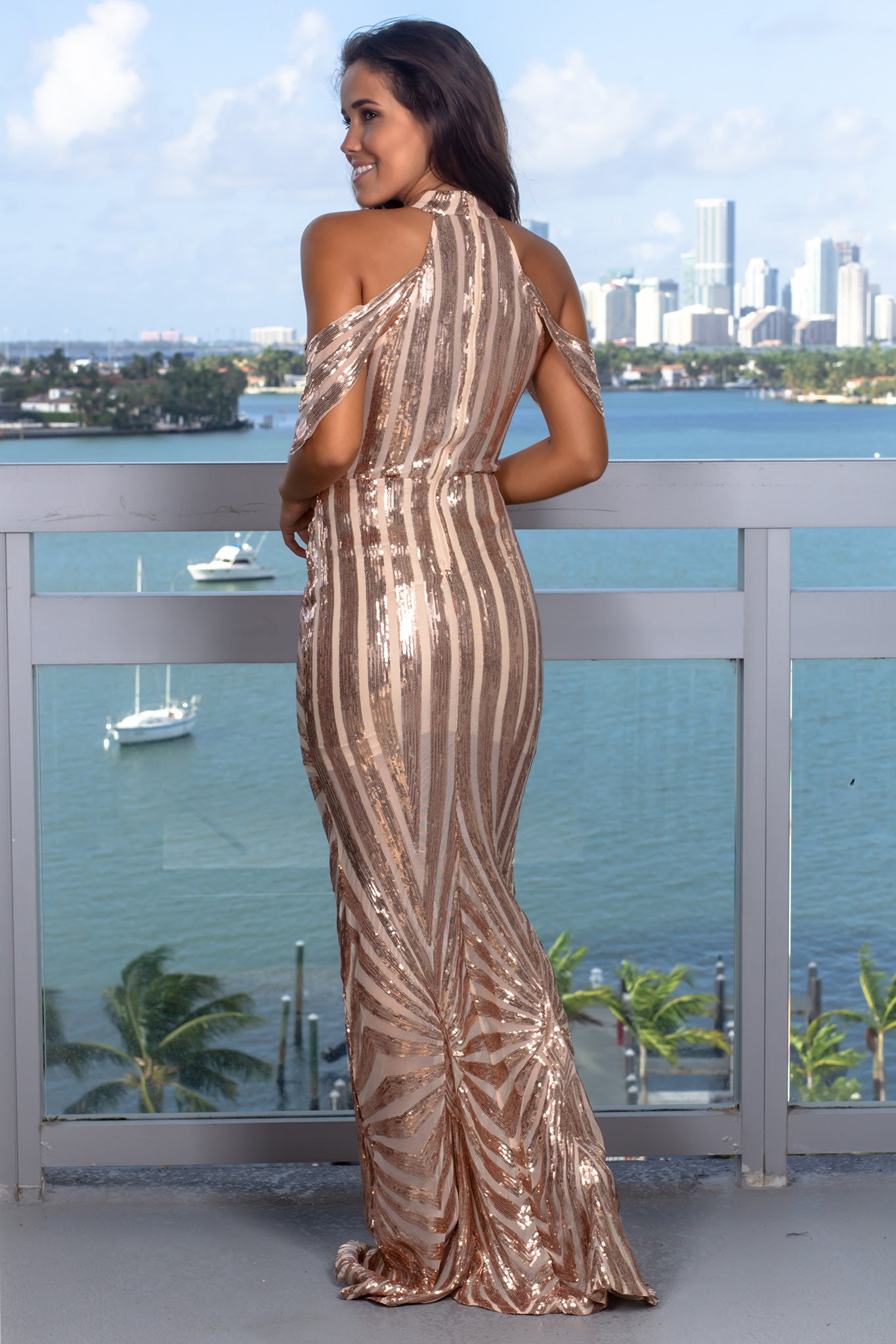 Rose Gold Halter Neck Maxi Dress with Arm Detail