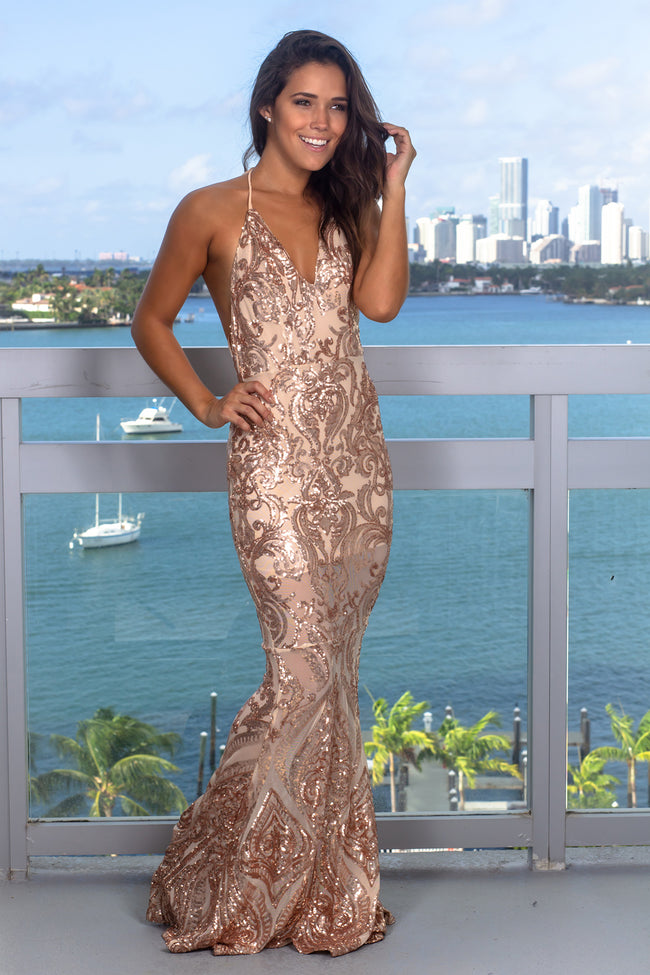 Rose Gold Halter Neck Sequin Maxi Dress