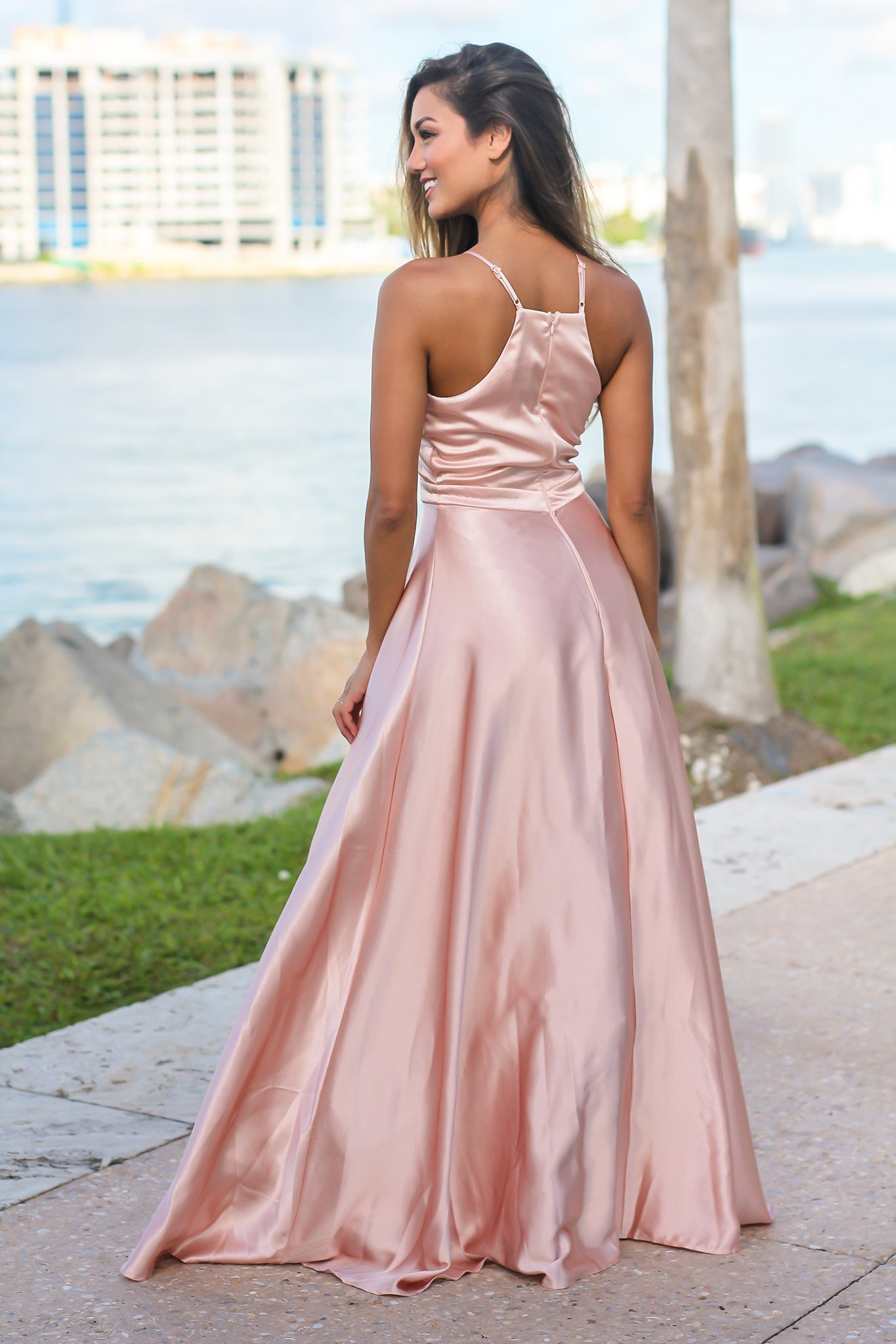 Rose Gold Maxi Dress with Halter Neck