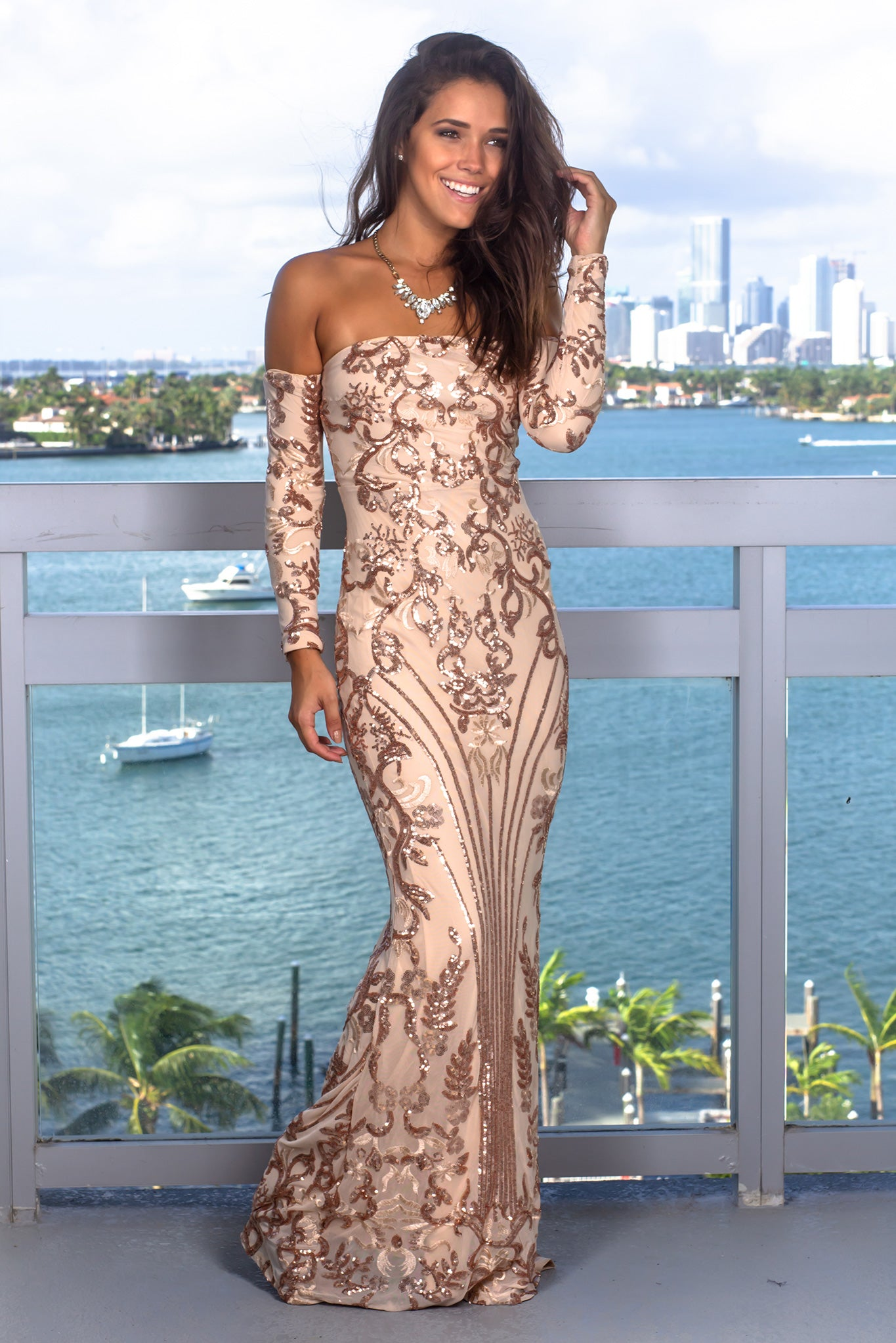 Rose Gold Maxi Dress with Long Sleeves
