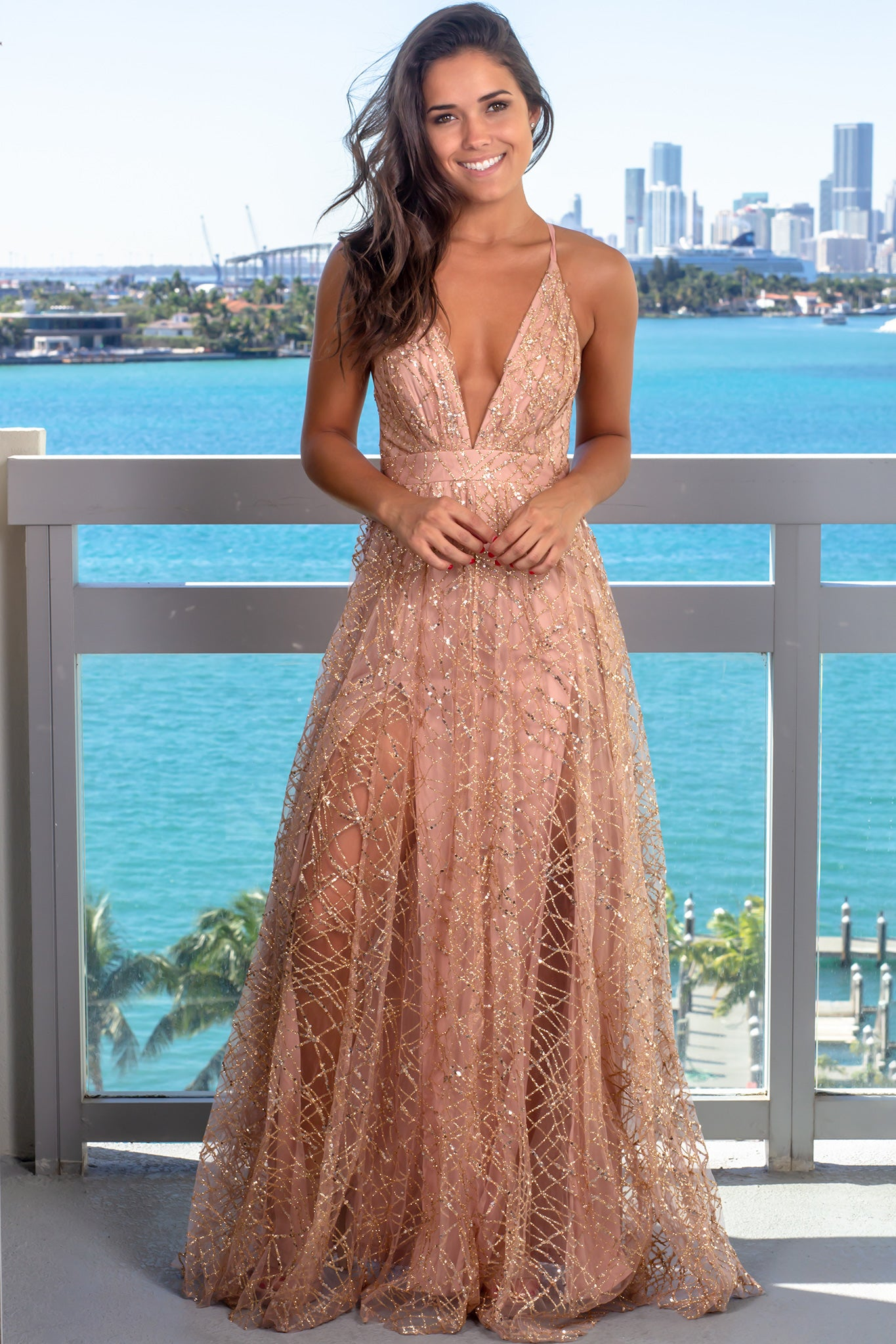 Rose Gold Maxi Dress with Sequins