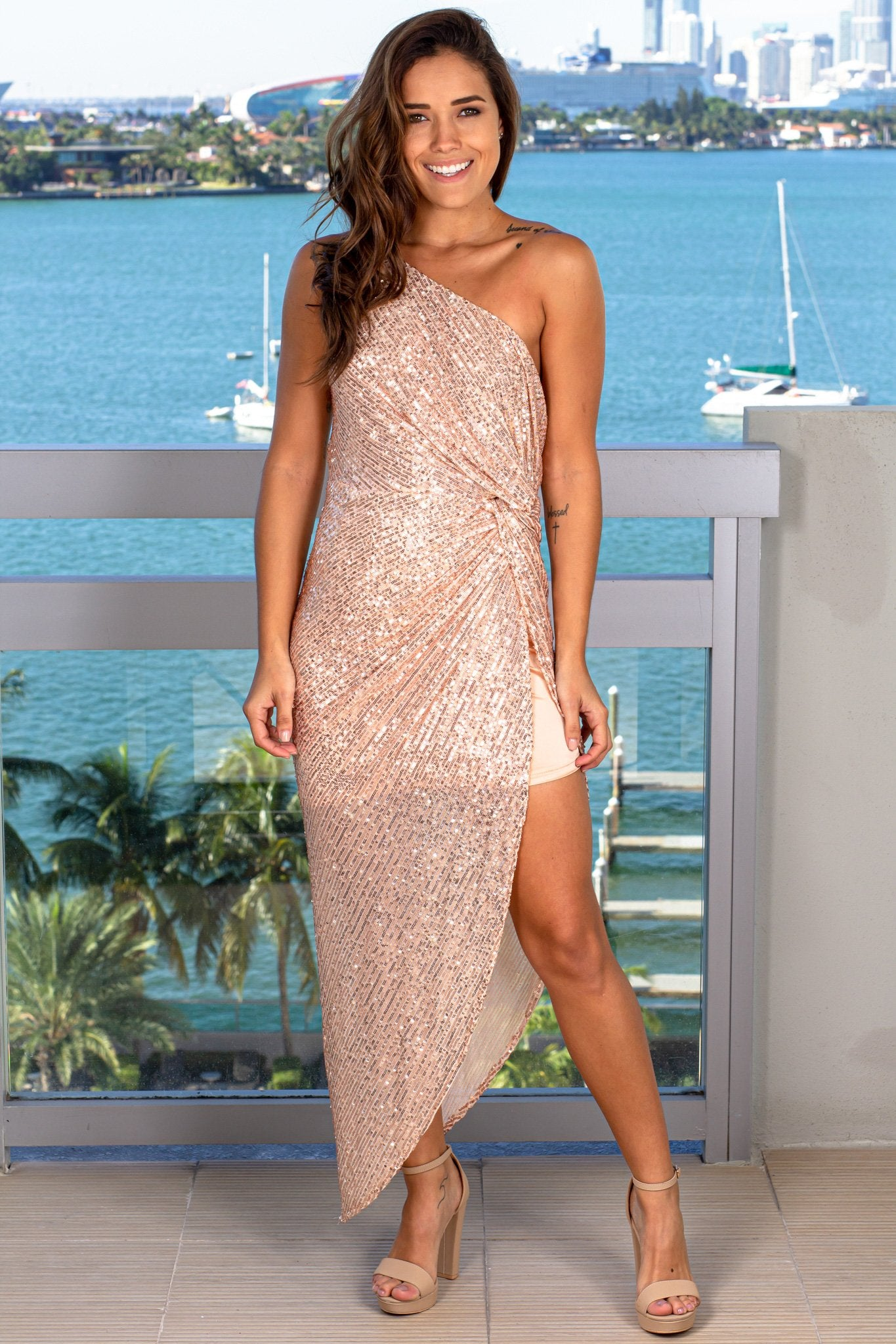 Rose Gold One Shoulder Sequin Maxi Dress