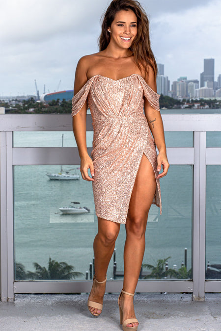 Rose Gold Pleated Sequin Short Dress