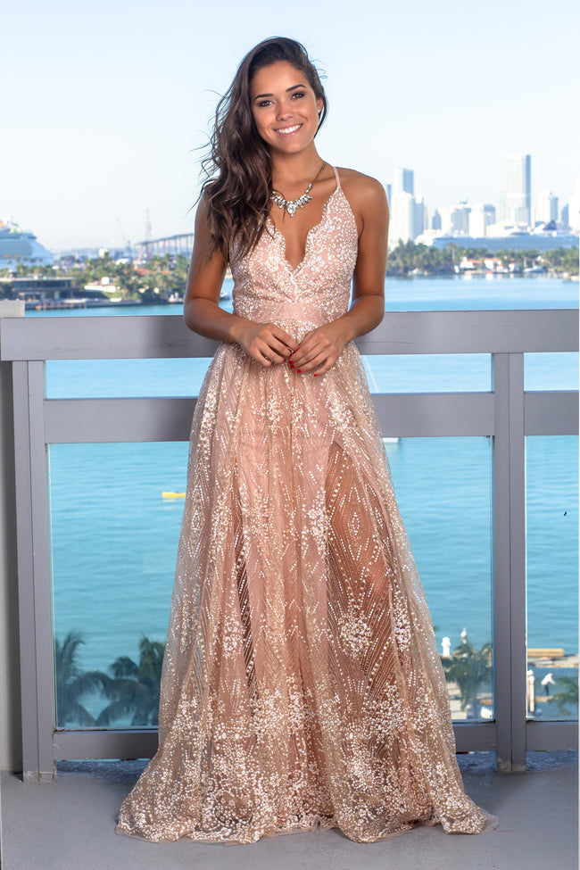 Rose Gold Printed Maxi Dress with Criss Cross Back
