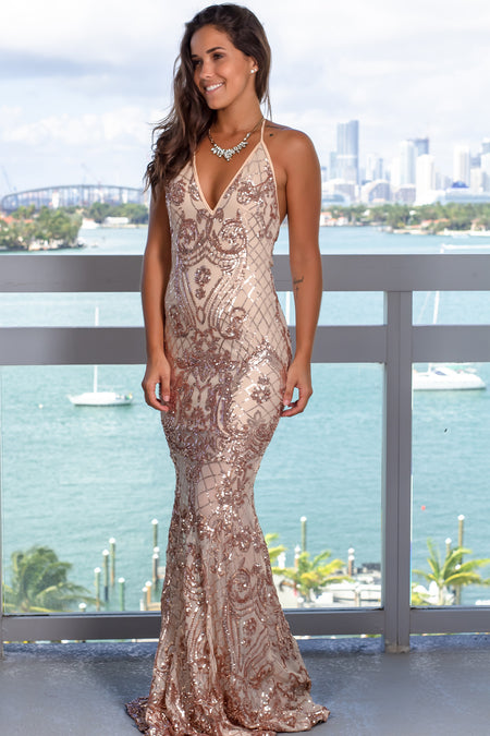 Rose Gold Sequin Halter Neck Maxi Dress