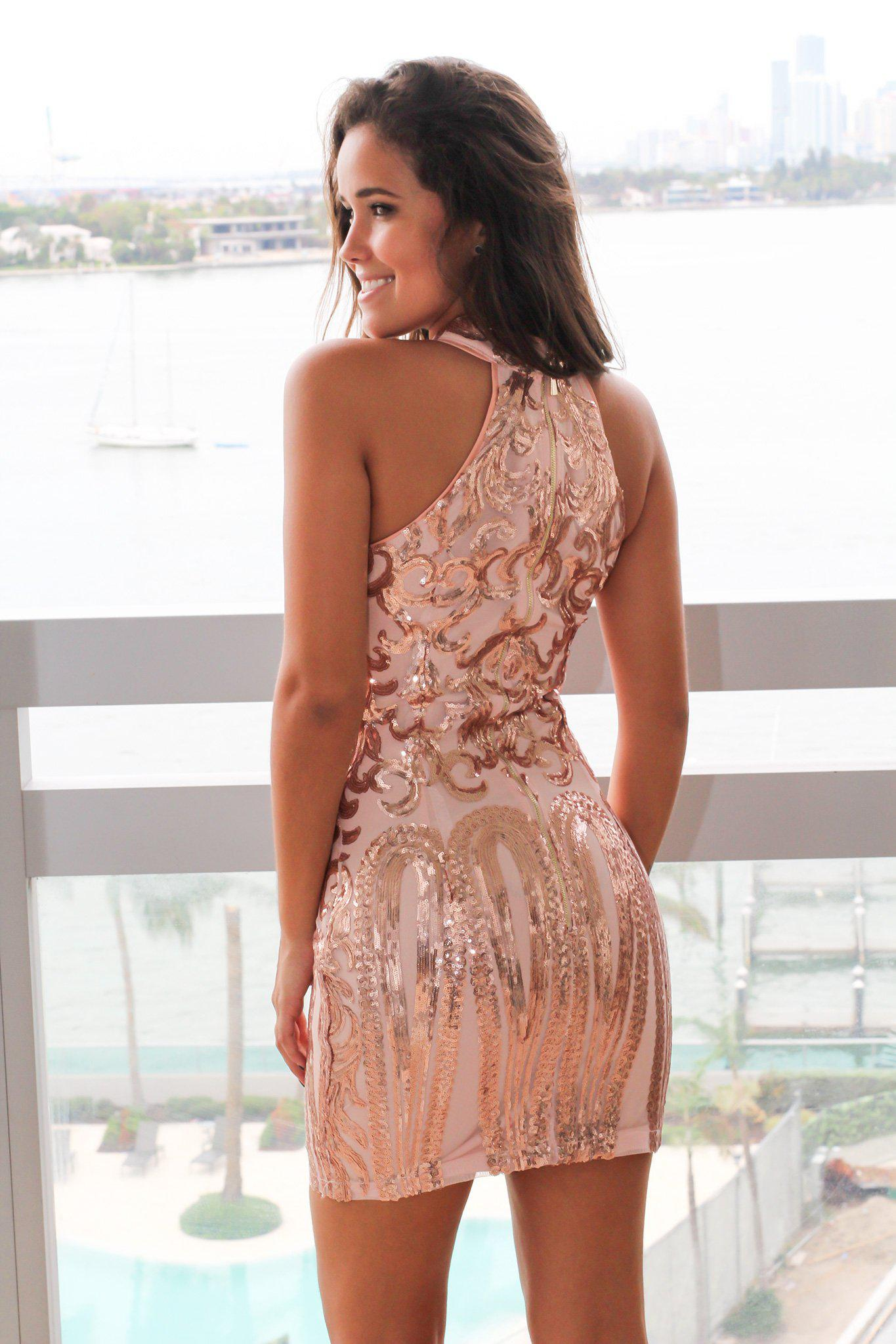 rose gold sequin halter neck short dress  short dresses