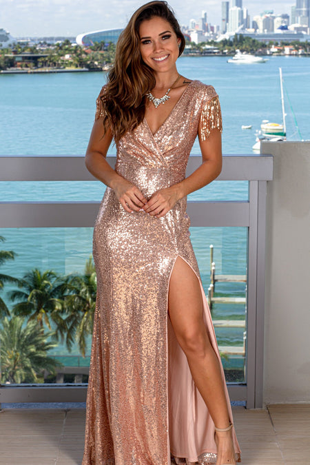 Rose Gold Sequin Maxi Dress with Fringe Detail