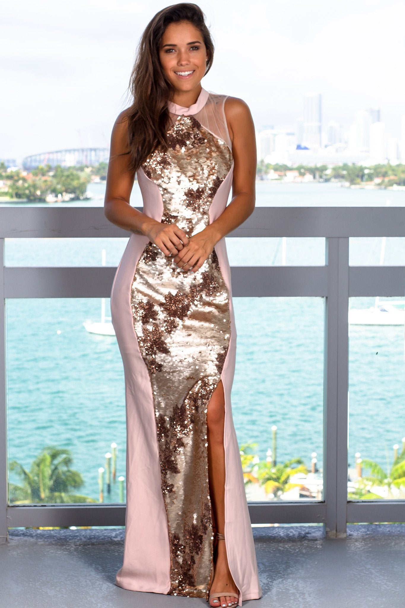 Rose Gold Sequin Maxi Dress with Side Slit