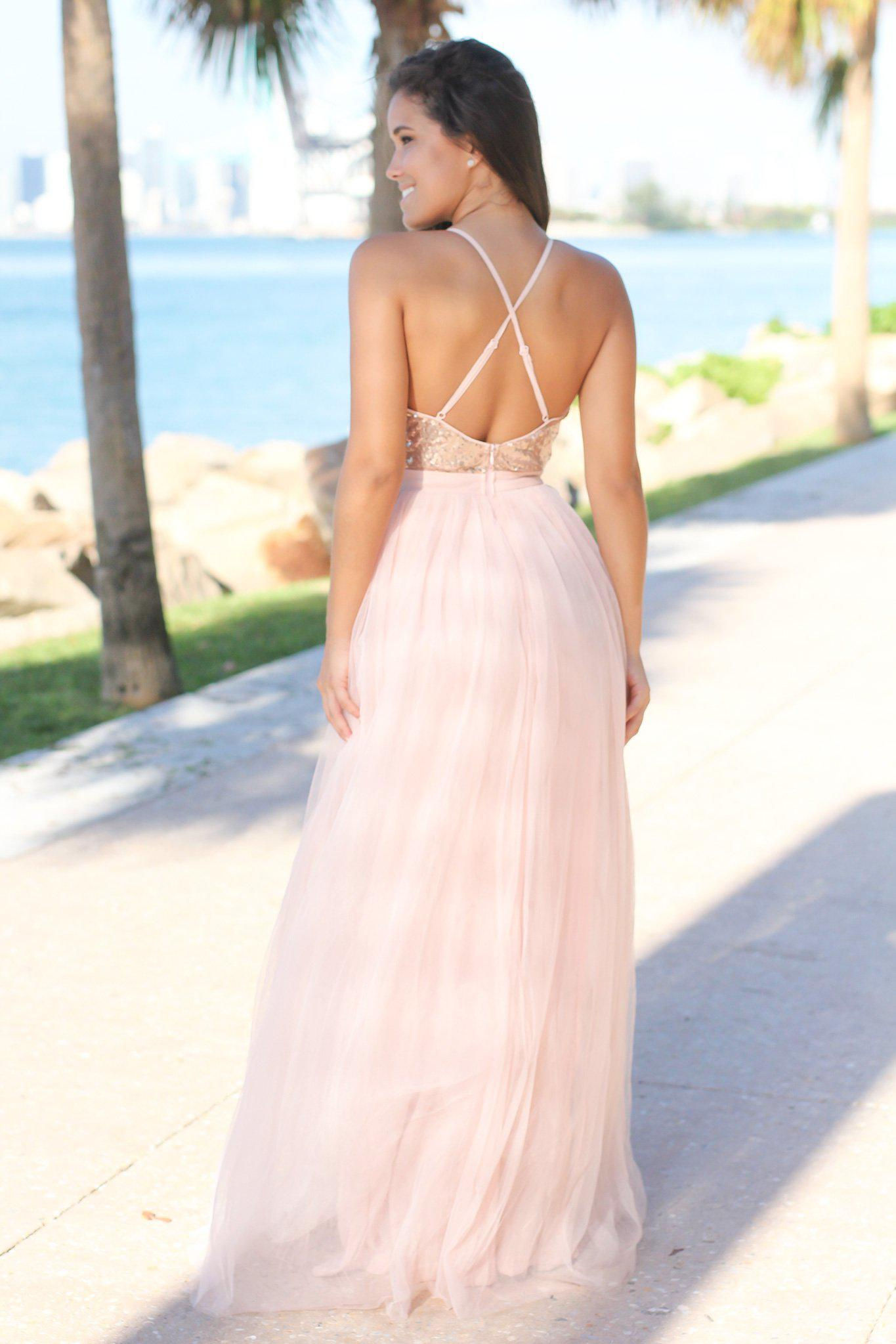 sequin and tulle long dress