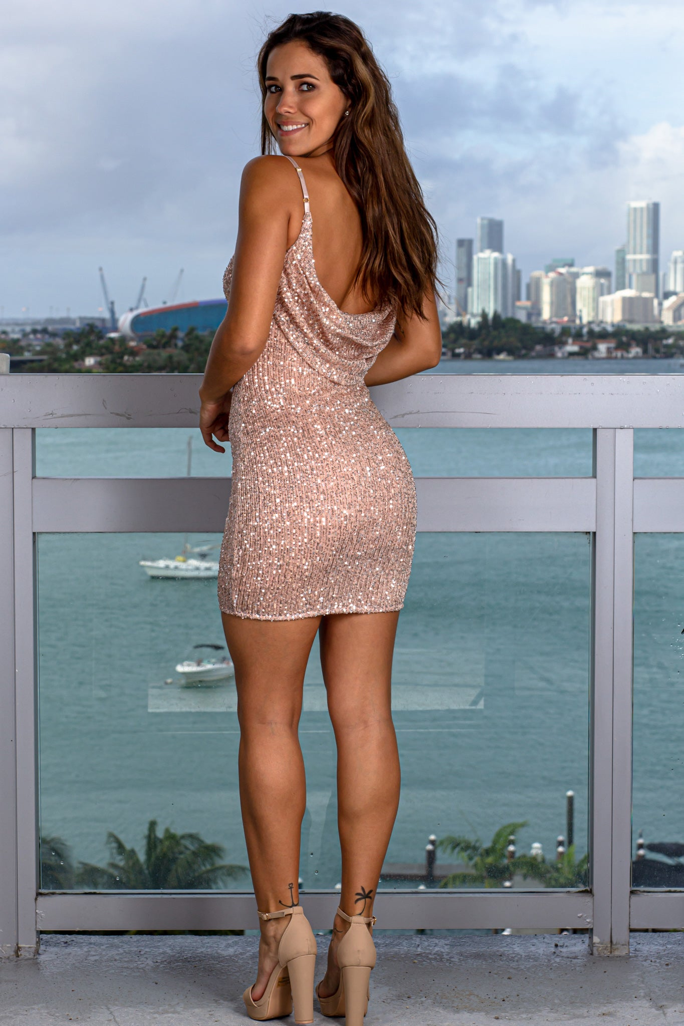 Rose Gold Sequin Short Dress with Draped Back
