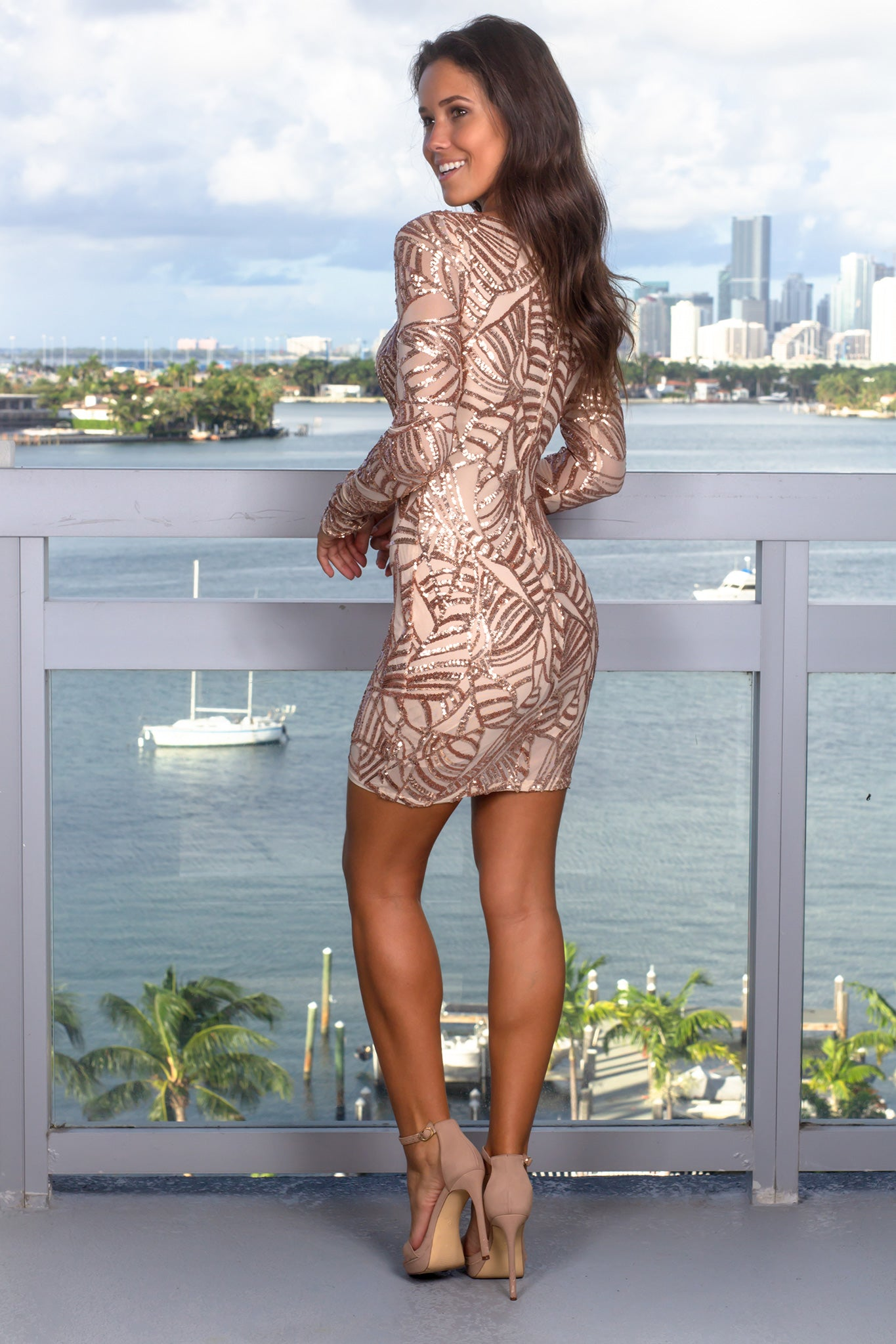 Rose Gold Sequin Short Dress with Sequin Detail
