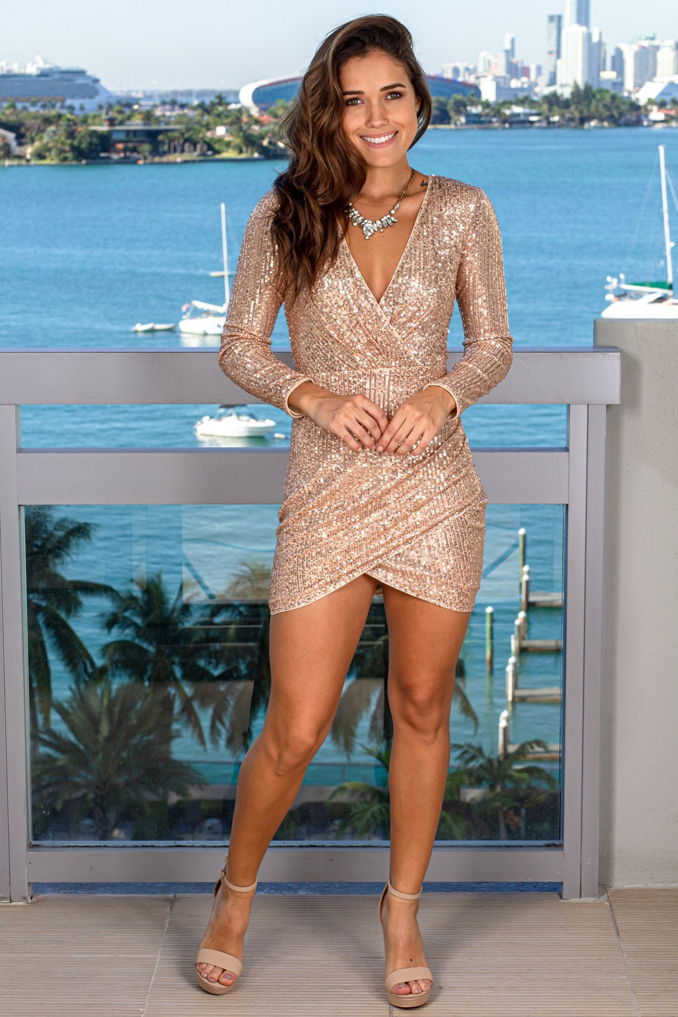 Rose Gold Sequin V-Neck Short Dress