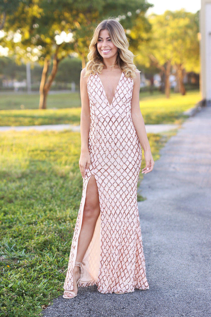 rose maxi dress with open back