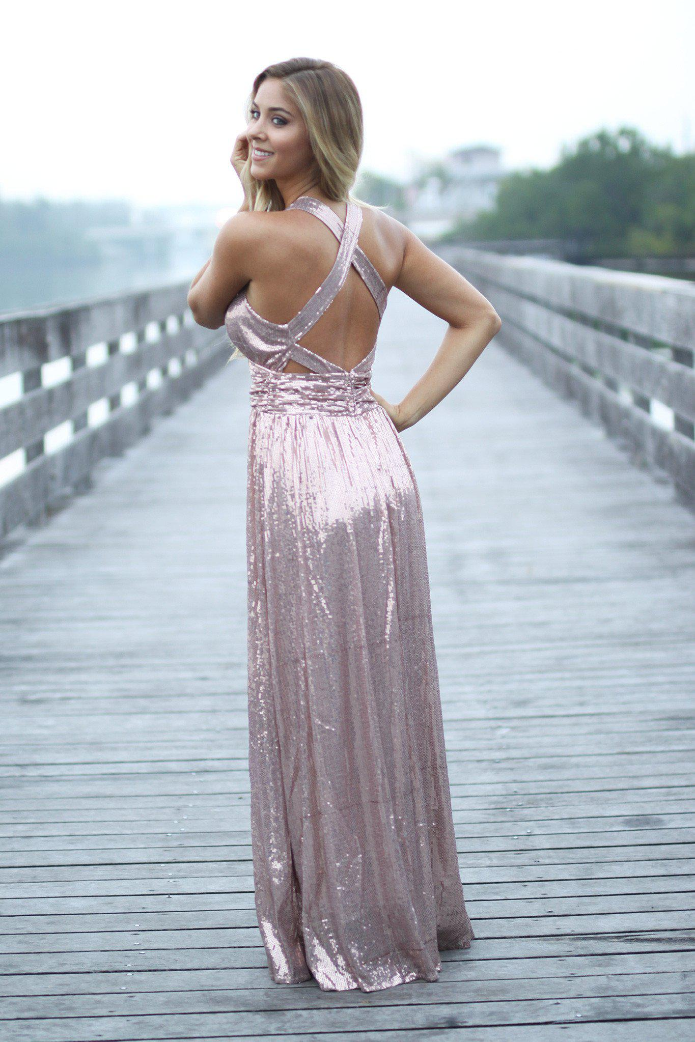 Rose gold sequined maxi dress with criss cross back