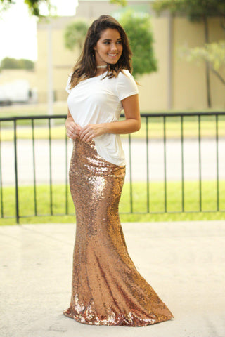 Rose Gold Sequined Maxi Skirt