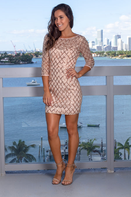 Rose Gold Short Dress with Sequins