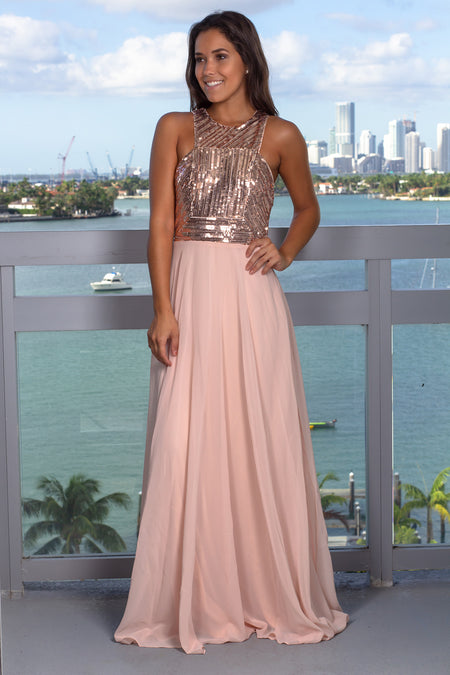 Rose Gold Sleeveless Maxi Dress
