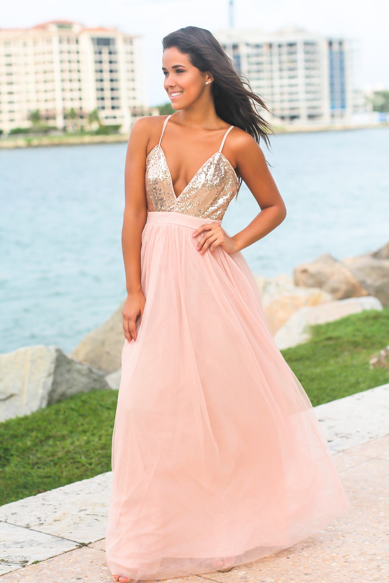 Rose Gold Tulle Maxi Dress