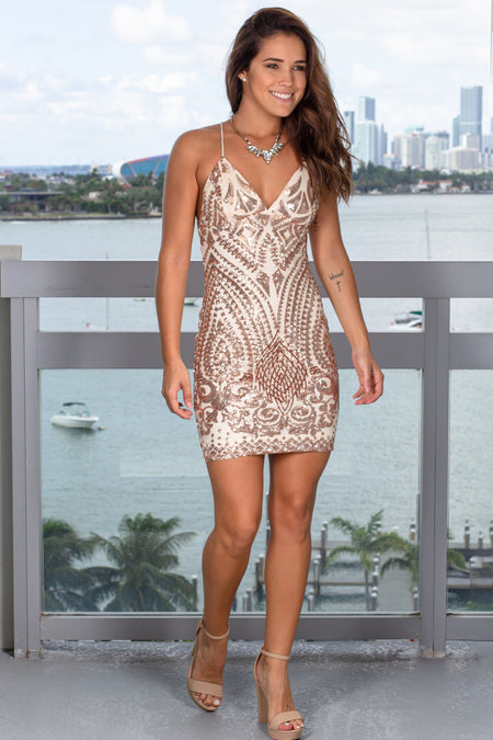 Rose Gold and Beige Sequin Short Dress with Criss Cross Back