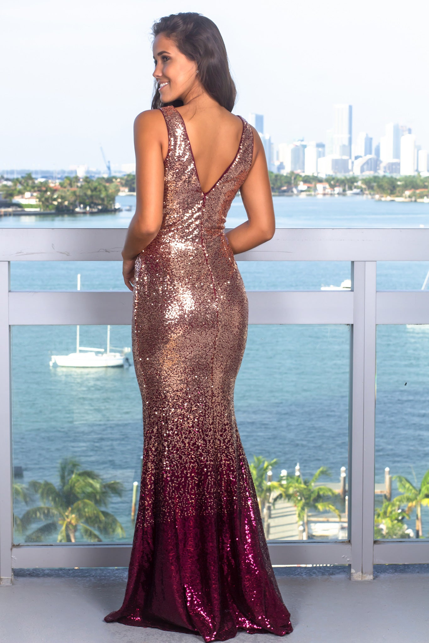 Rose Gold and Burgundy Sequin Maxi Dress