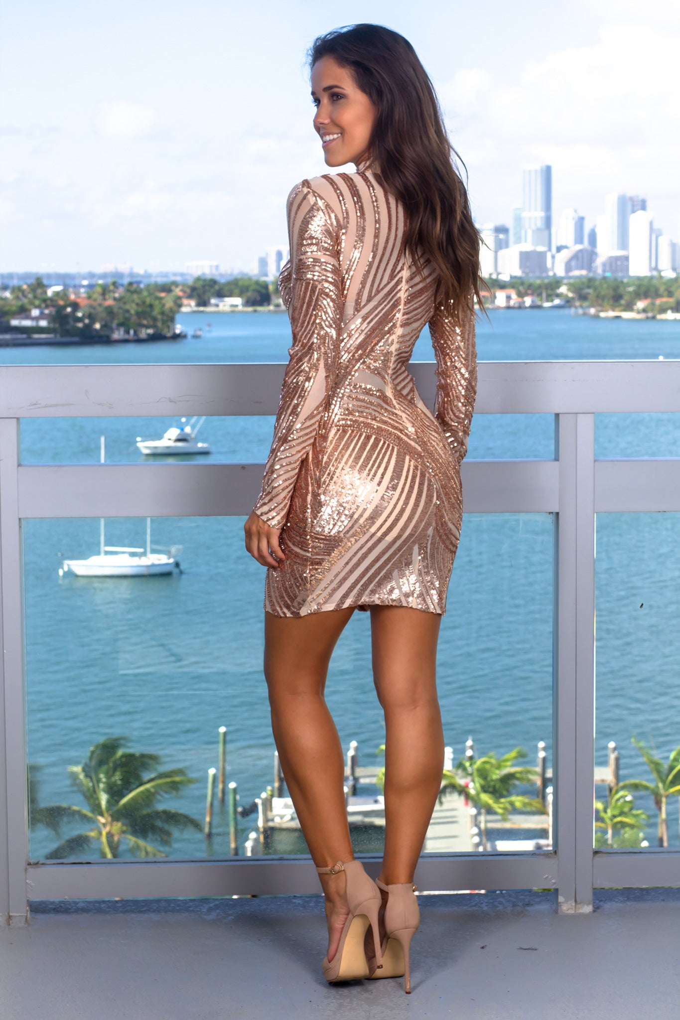 Rose Gold and Nude Sequin Short Dress