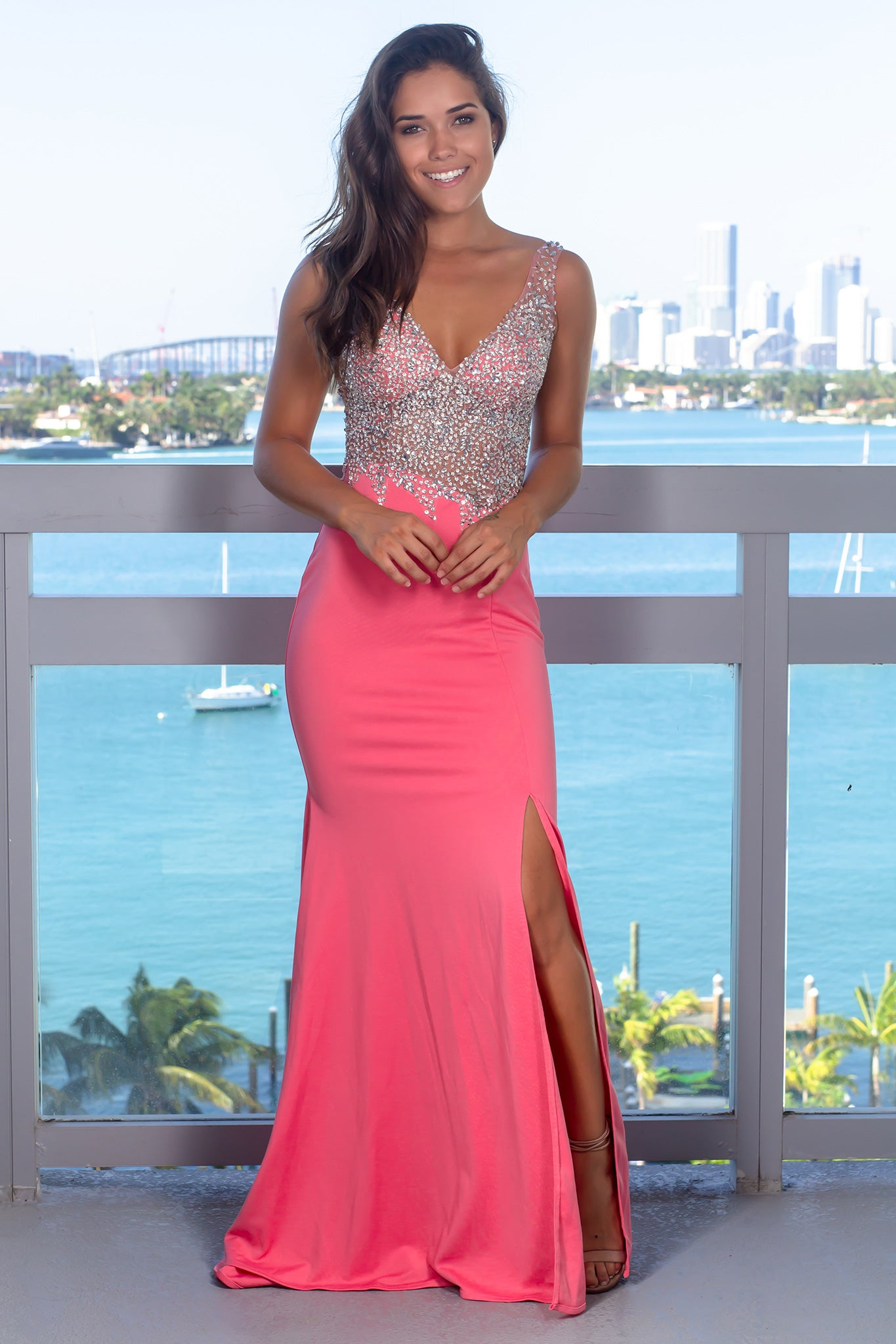 Rose Jeweled Top Maxi Dress with Open Back
