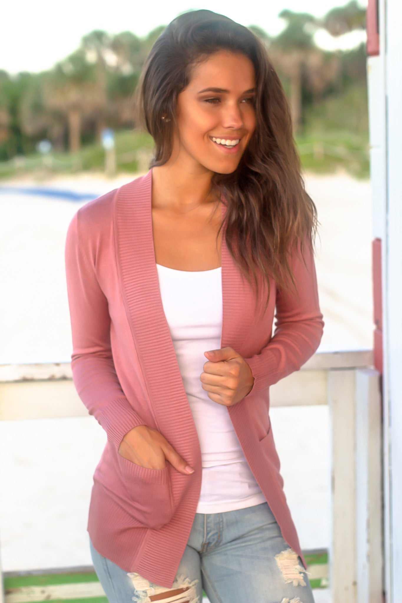 Rose Open Cardigan