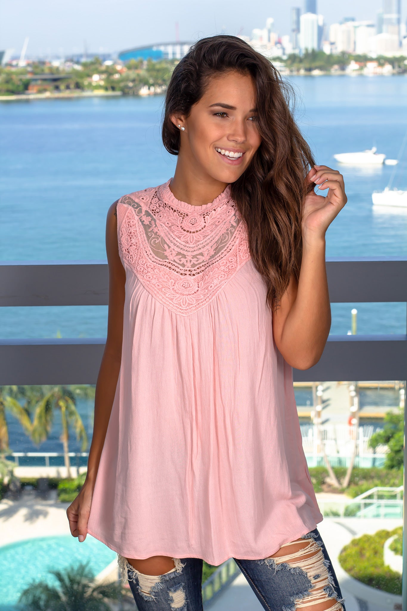 Rose Pink Top with Crochet Details