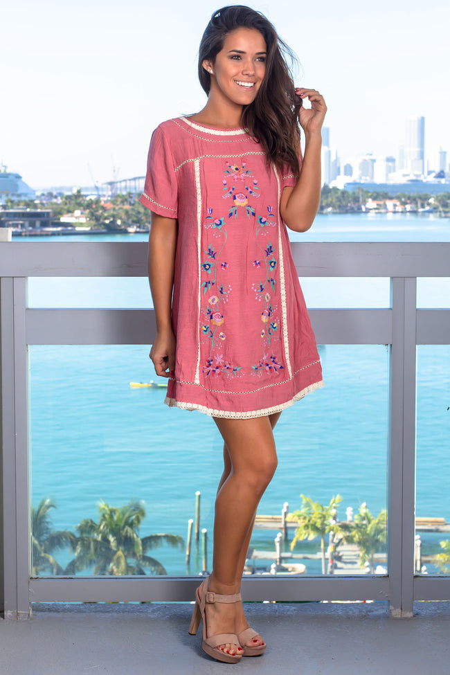 Rose Short Dress with Floral Embroidery