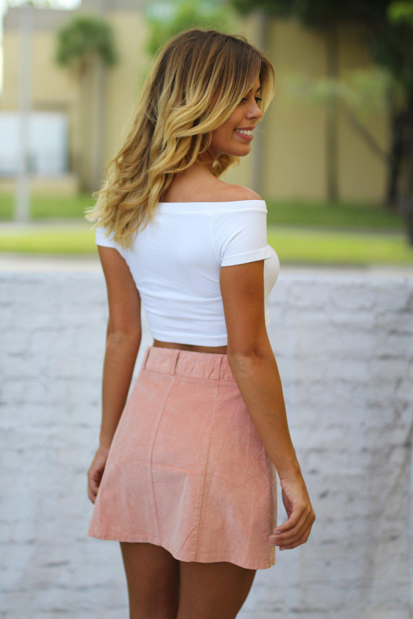 rose suede skirt