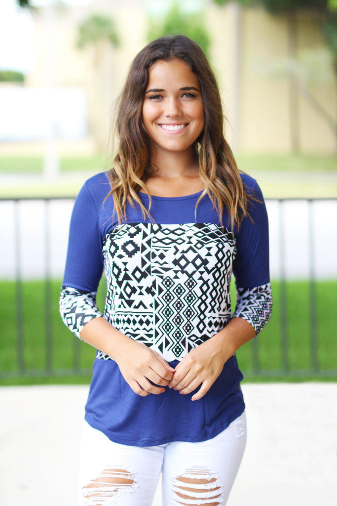 Royal Blue Aztec Top with 3/4 Sleeves