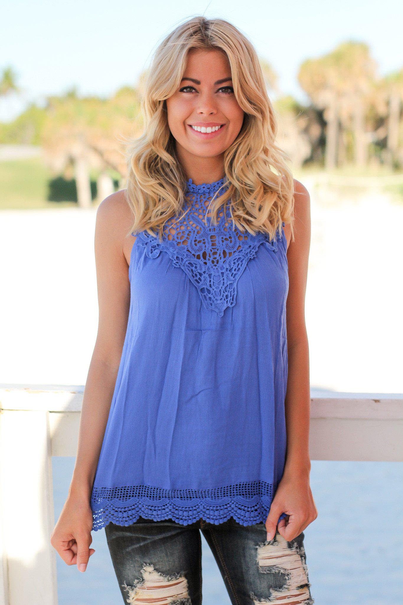 Royal Blue Crochet Top
