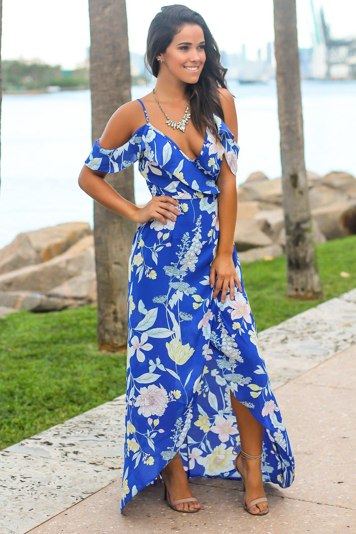Royal Blue Floral High Low Dress