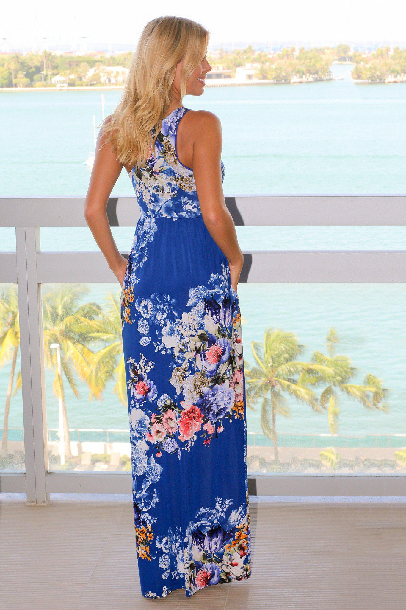 Royal Blue Floral Racerback Maxi Dress with Pockets