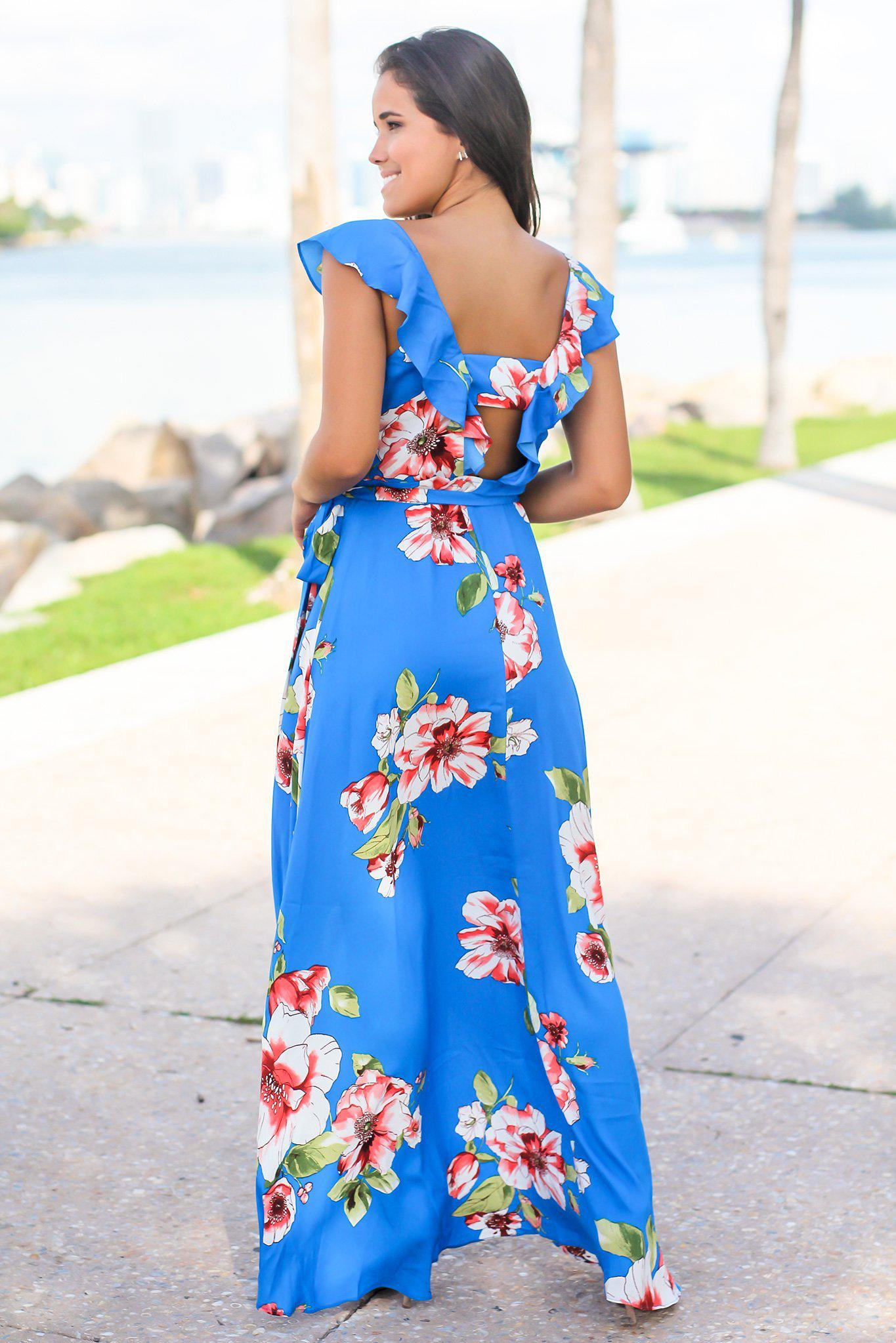 Royal Blue Floral Wrap Dress with Ruffles