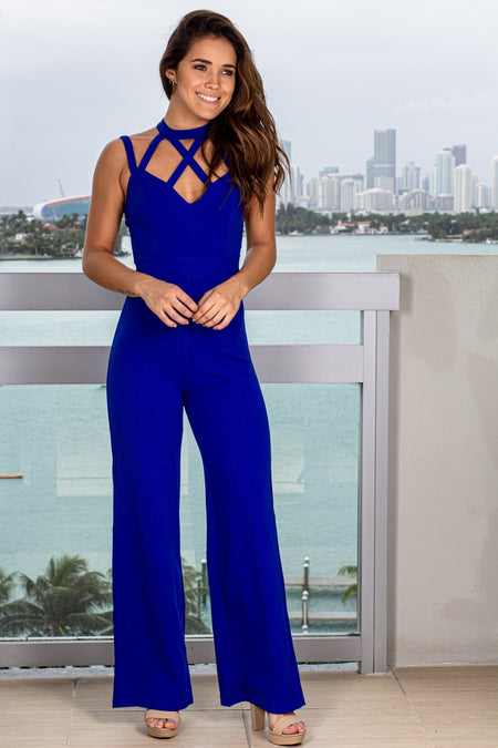 Royal Blue Jumpsuit with Criss Cross Detail