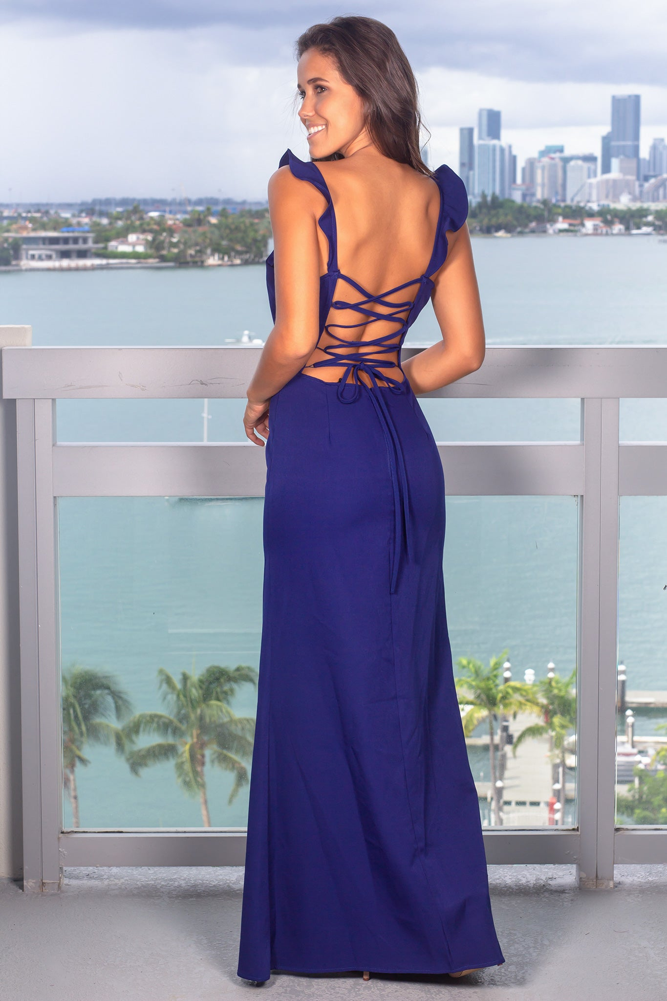 Royal Blue Maxi Dress with Lace Up Back