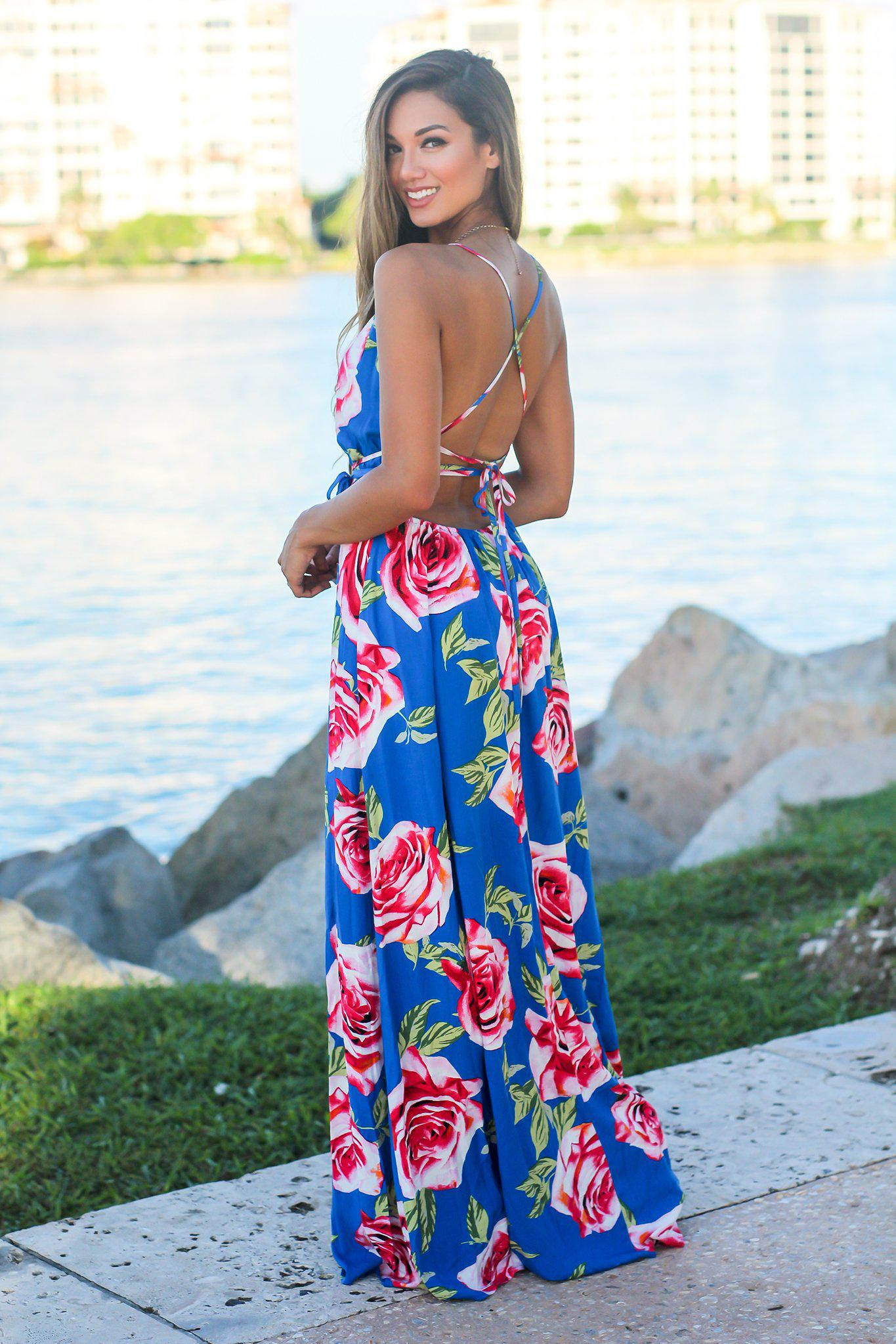 Royal Blue Maxi Dress with Rose Print