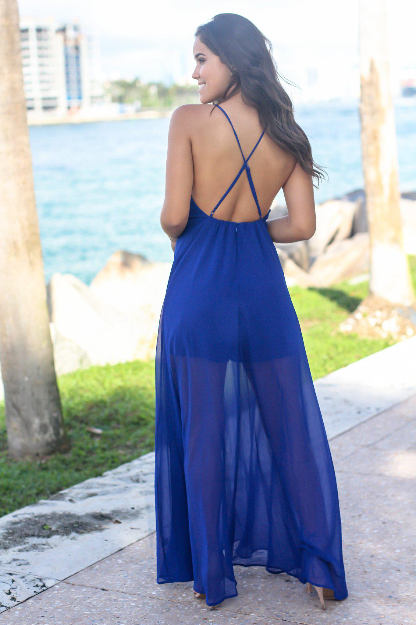 Royal Blue Maxi Romper with Criss Cross Back