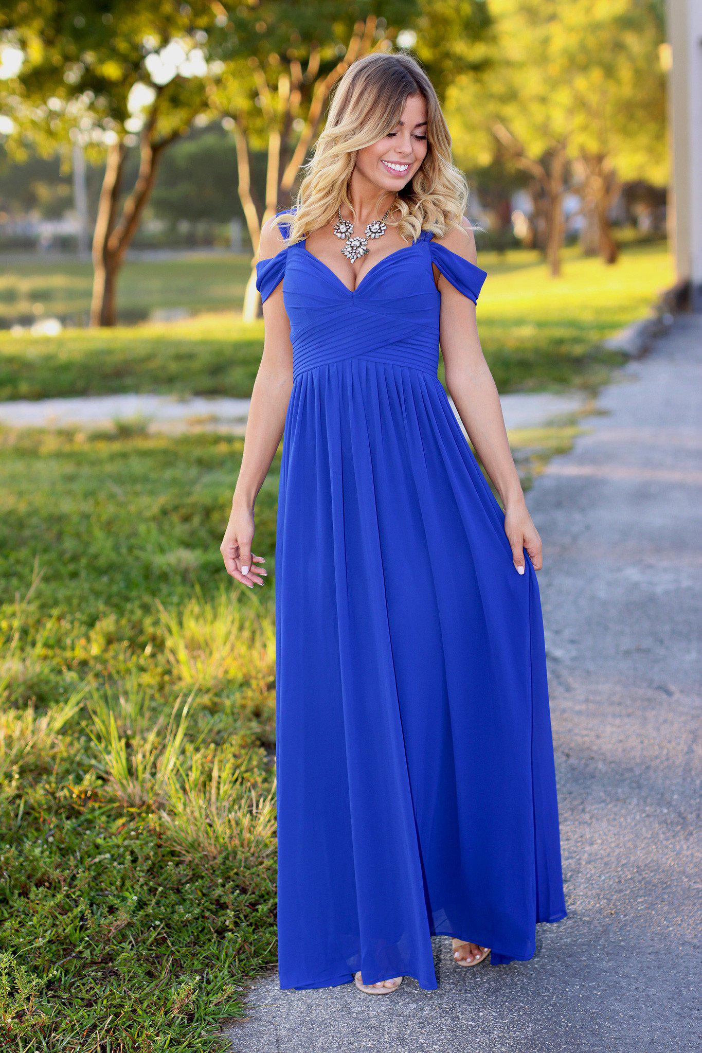 Royal blue off shoulder maxi dress