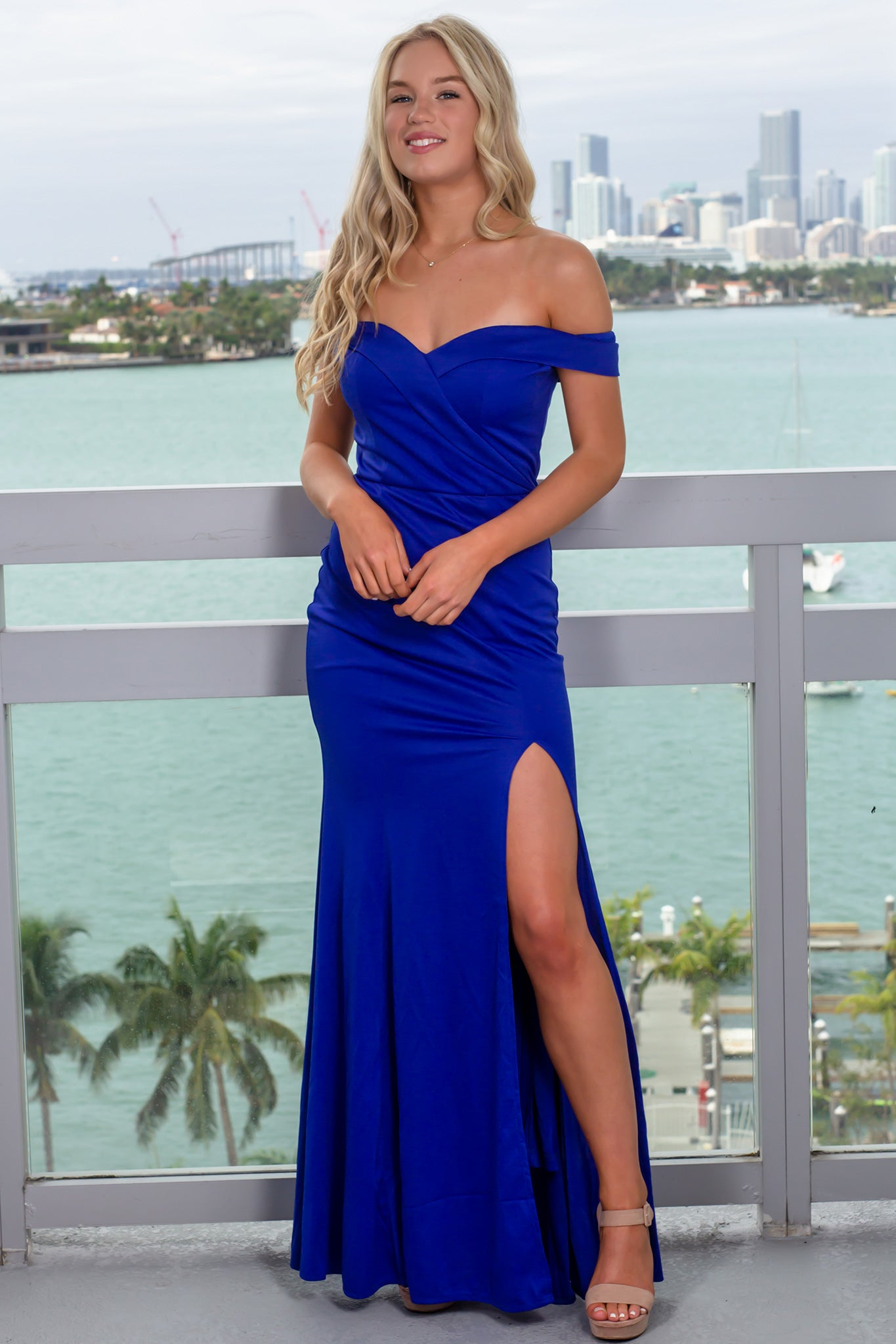 Royal Blue Off Shoulder Maxi Dress with Side Slit