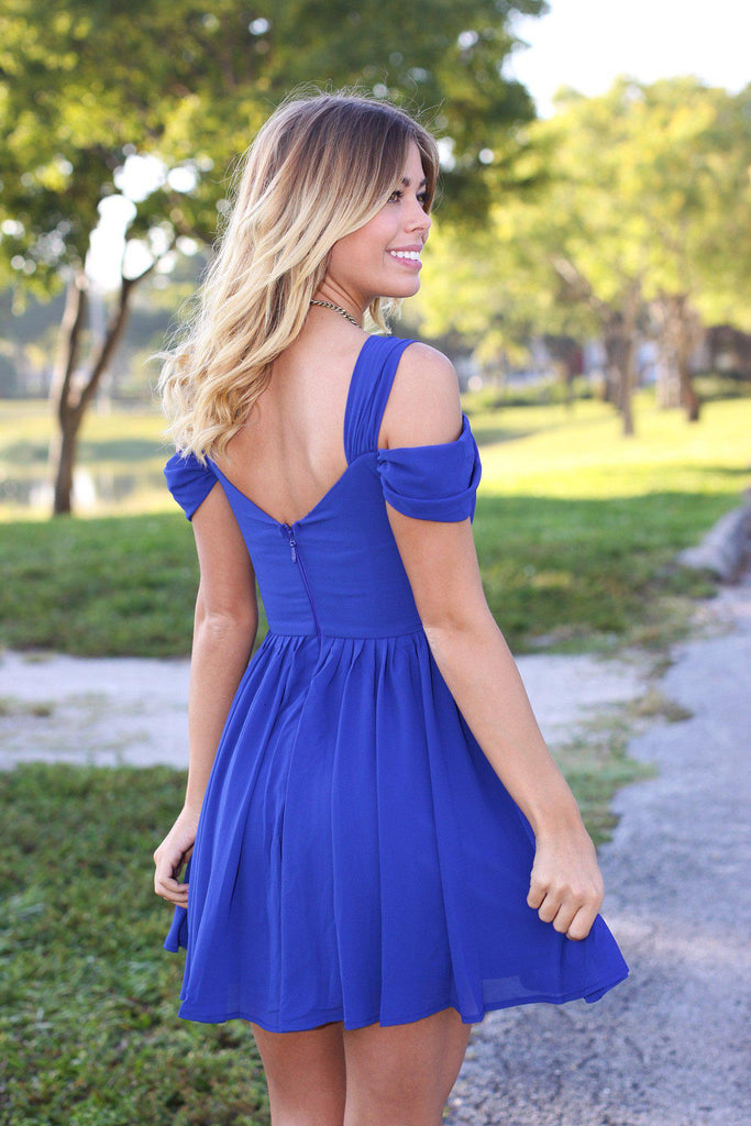 Royal Blue Off Shoulder Short Dress