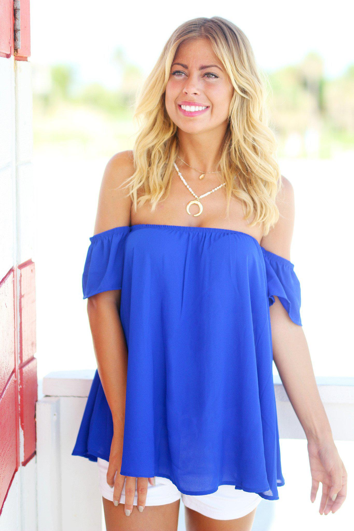Royal Blue Off Shoulder Top with Short Sleeves