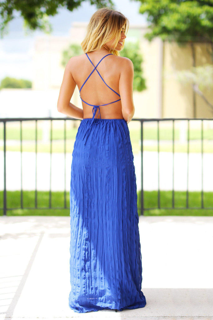 Royal Blue Pleated Maxi Dress with Open Back
