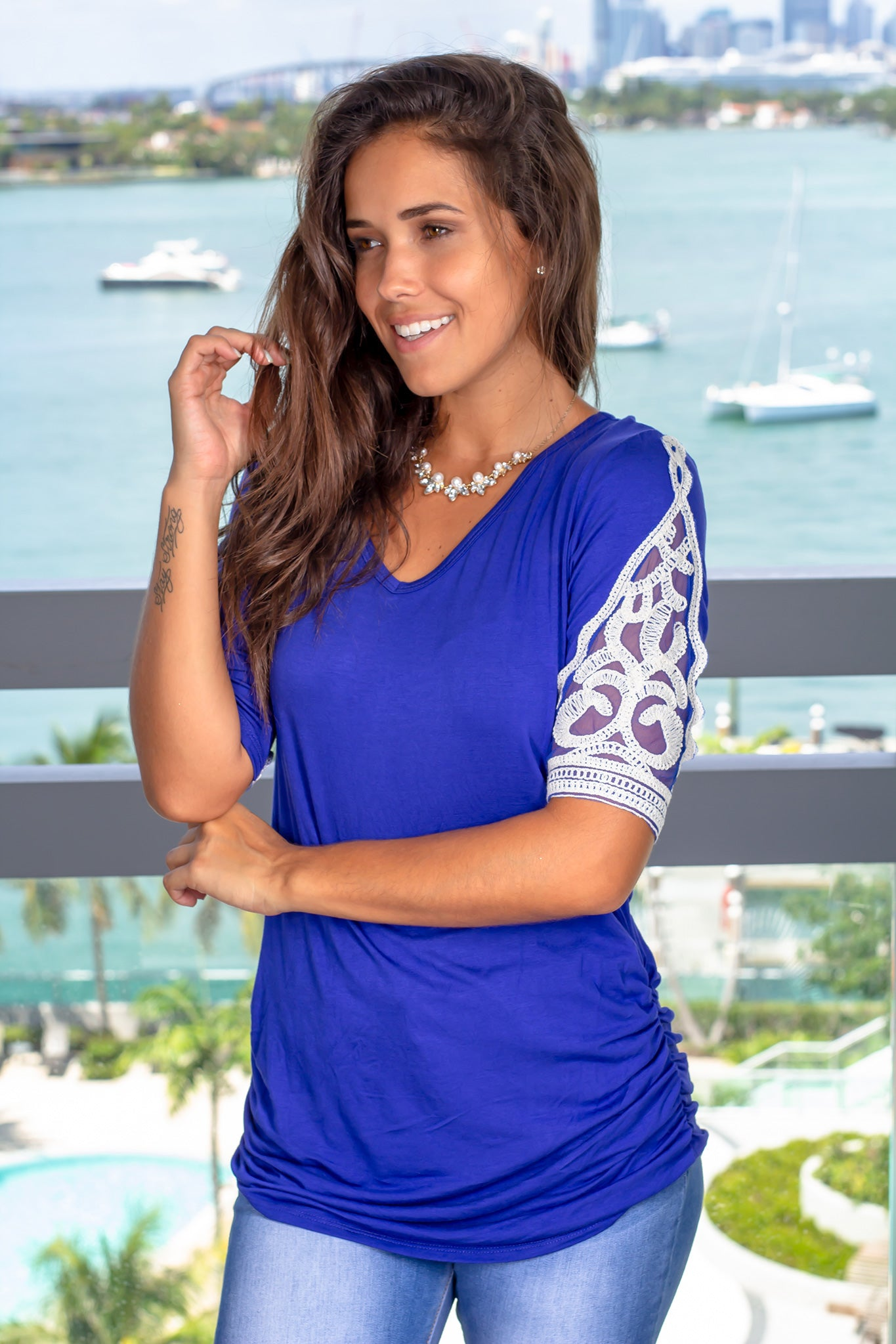 Royal Blue Ruched Top with Crochet Detail