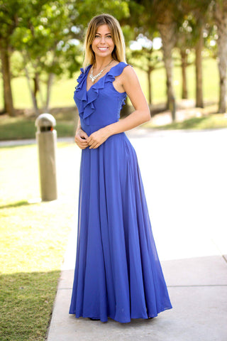 Royal Blue Ruffle Top Maxi Dress
