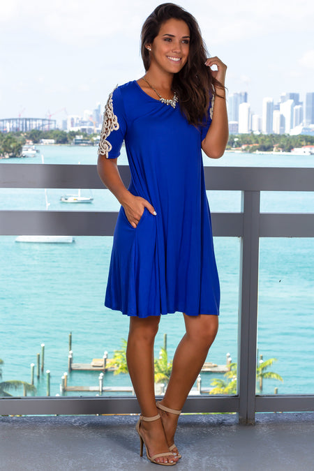 Royal Blue Short Dress with Crochet Sleeves